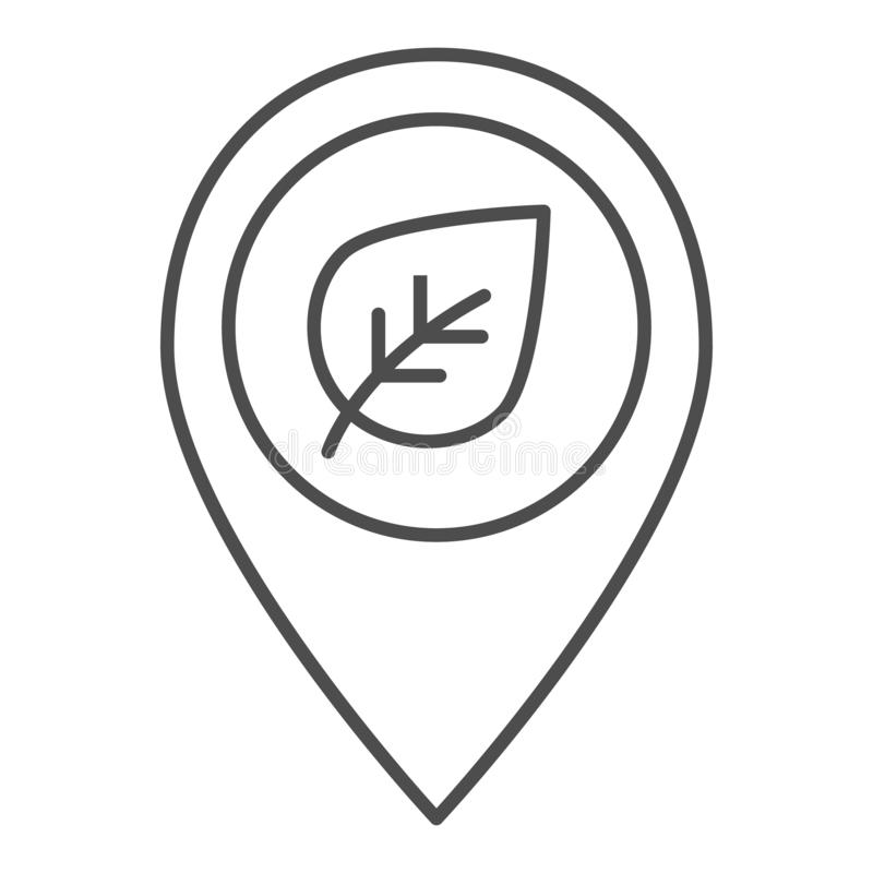 Map pointer with leaf thin line icon. Sprout location vector illustration isolated on white. Pin with plant outline vector illustration