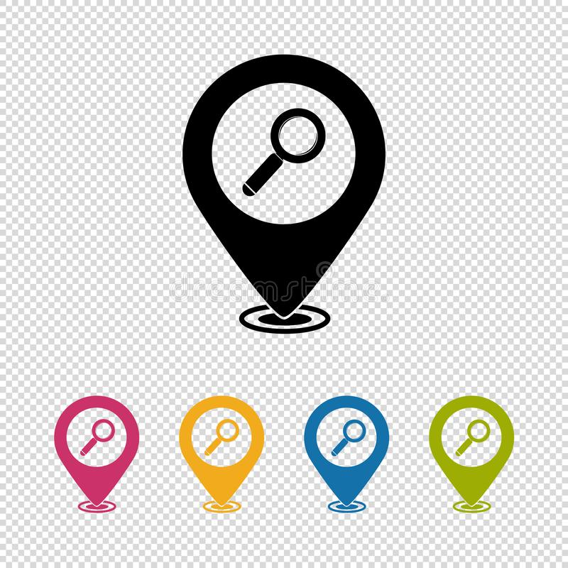 Map Pointer, Location Finder, Search Icon, Magnifying Glass Icon - Vector Illustration Isolated On Transparent Background vector illustration