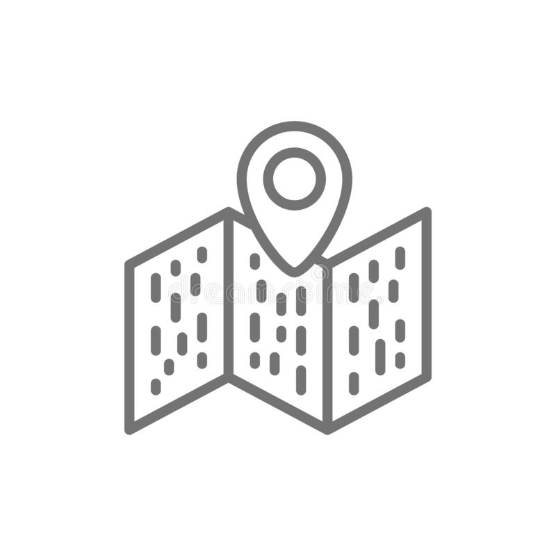 Map with pointer, navigation, location pin line icon. royalty free illustration