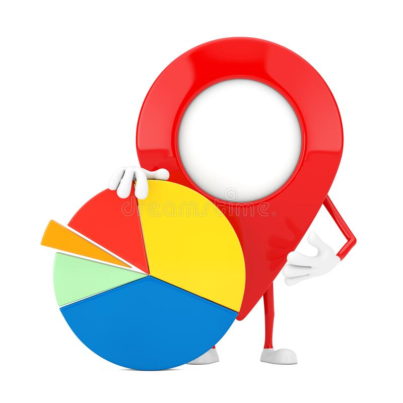 Free Map Pointer Pin Character Mascot With Info Graphics Business Pie Chart. 3d Rendering Royalty Free Stock Photography - 214328217