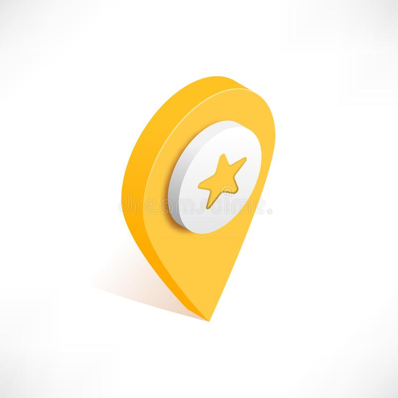 Map pointer pin isometric with icon star royalty free illustration