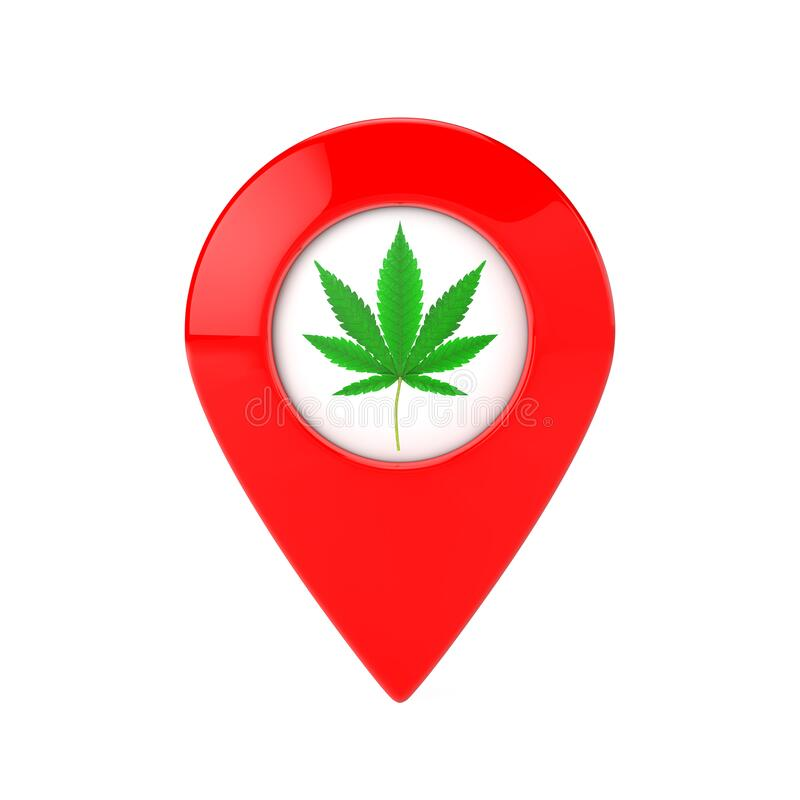 Map Pointer Pins with Medical Marijuana or Cannabis Hemp Leaf Icon. 3d Rendering. Map Pointer Pins with Medical Marijuana or Cannabis Hemp Leaf Icon on a white vector illustration