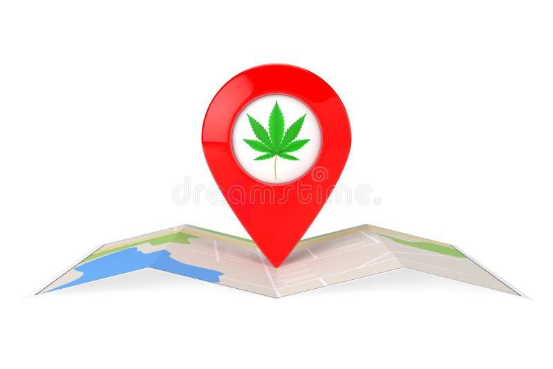 Map Pointer Pins with Medical Marijuana or Cannabis Hemp Leaf Icon over Folded Paper Map. 3d Rendering. Map Pointer Pins with Medical Marijuana or Cannabis Hemp stock illustration
