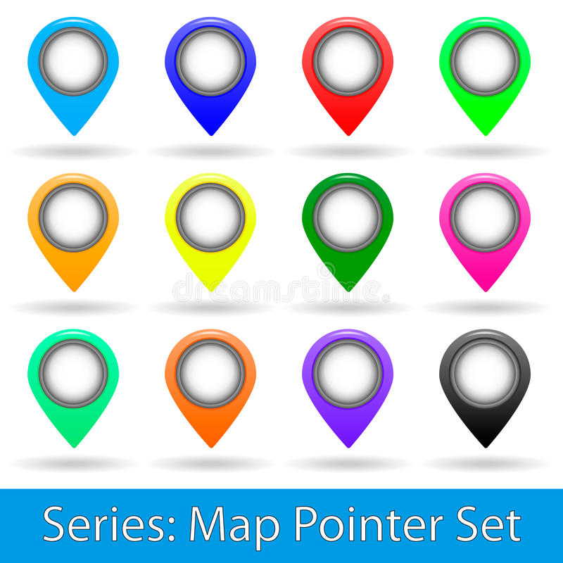 Map pointer set royalty free stock photography