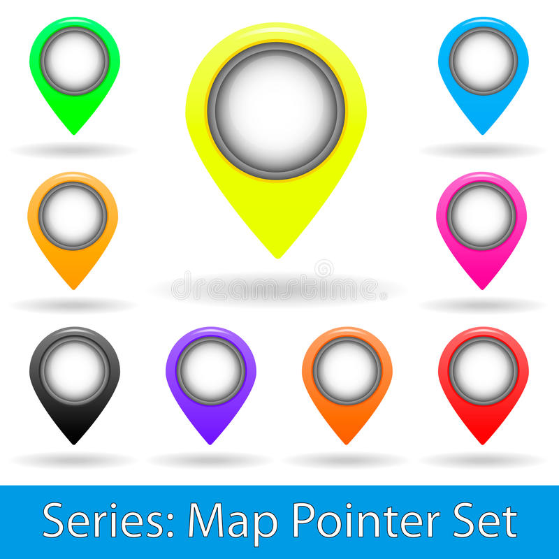 Map pointer set stock images
