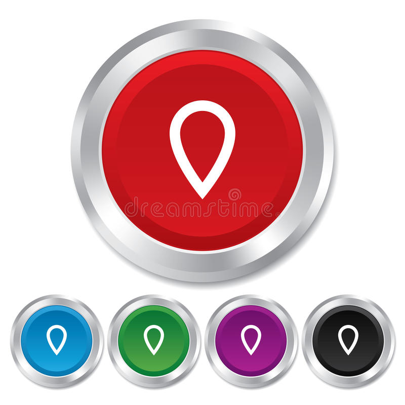 Map pointer sign icon. Marker symbol. Map pointer sign icon. Location marker symbol. Round metallic buttons vector illustration