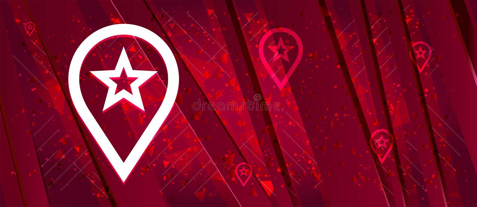 Map pointer star icon Abstract design bright red banner background. Map pointer star icon isolated on Abstract design bright red banner background stock illustration