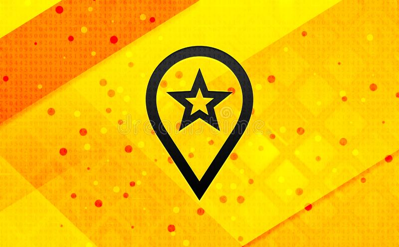 Map pointer star icon abstract digital banner yellow background vector illustration