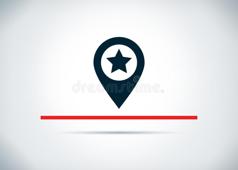 Map pointer star icon abstract flat background design illustration. Map pointer star icon isolated on abstract flat background design illustration stock illustration