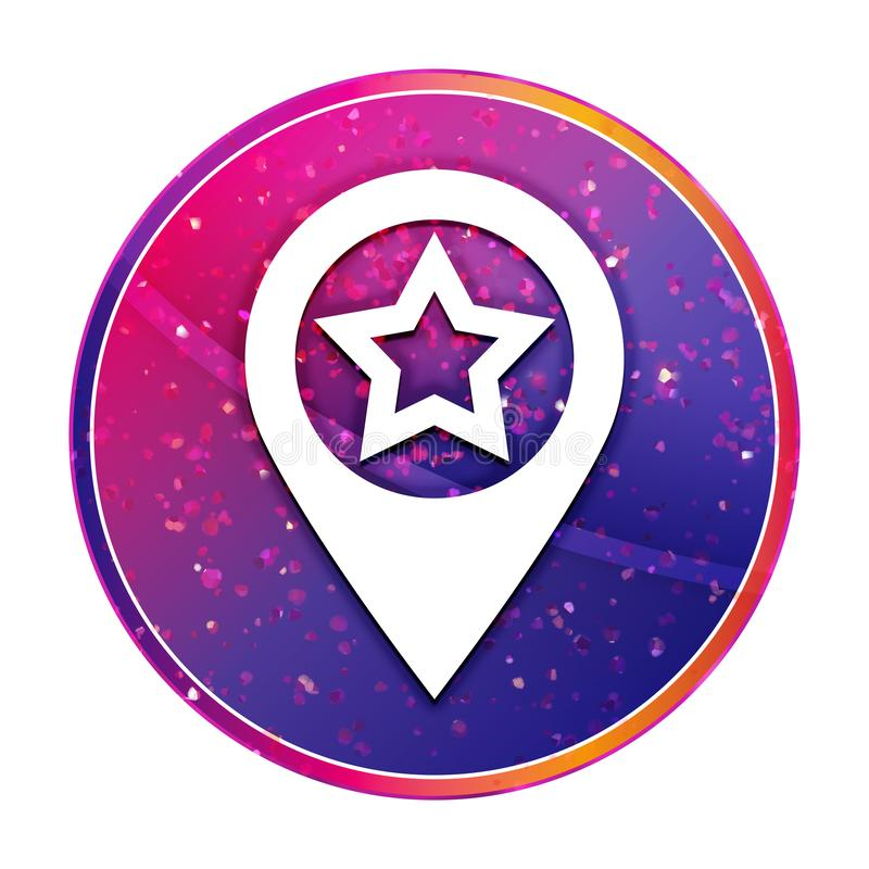 Map pointer star icon creative trendy colorful round button illustration vector illustration