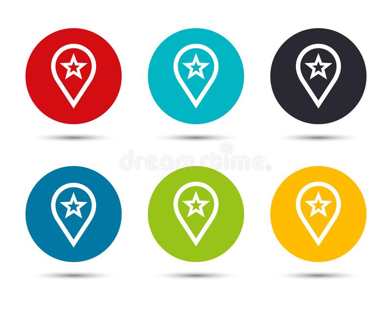Map pointer star icon flat round button set illustration design. Isolated on white background stock illustration