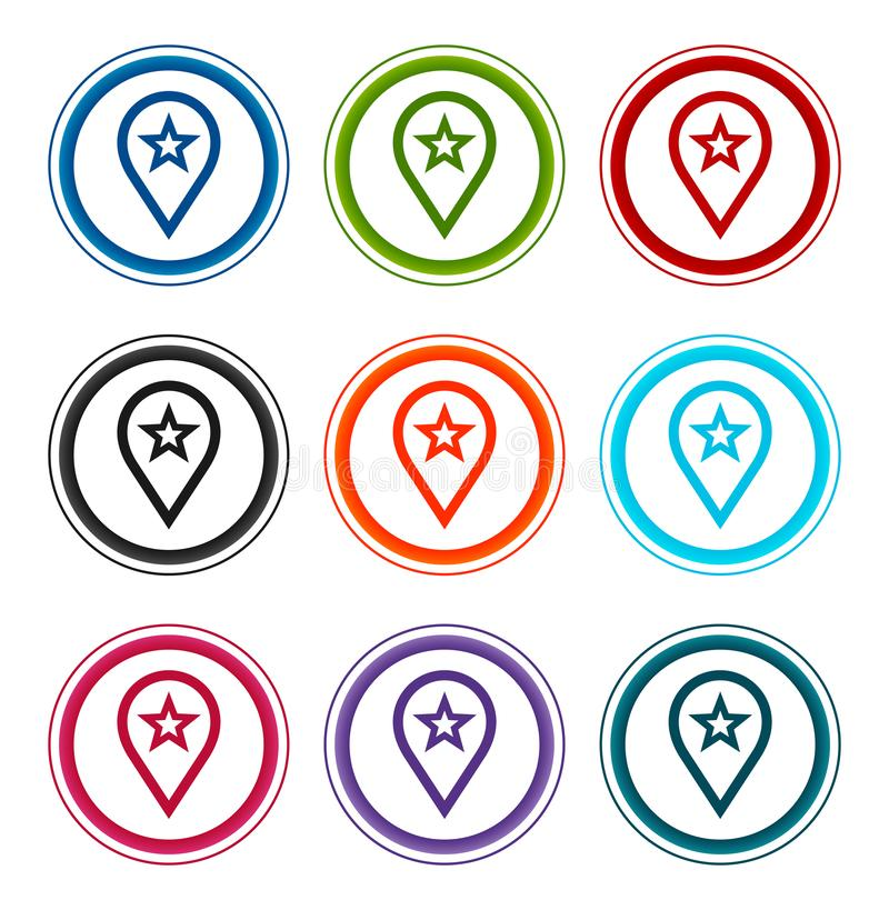 Map pointer star icon flat round buttons set illustration design royalty free illustration