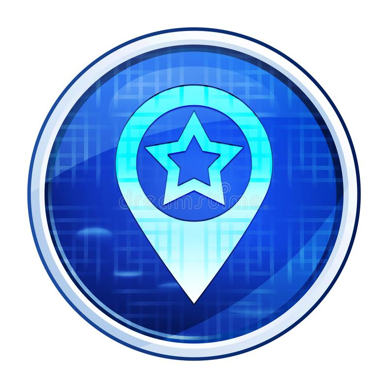 Map pointer star icon futuristic blue round button vector illustration vector illustration