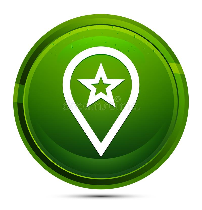Map pointer star icon glassy green round button illustration vector illustration