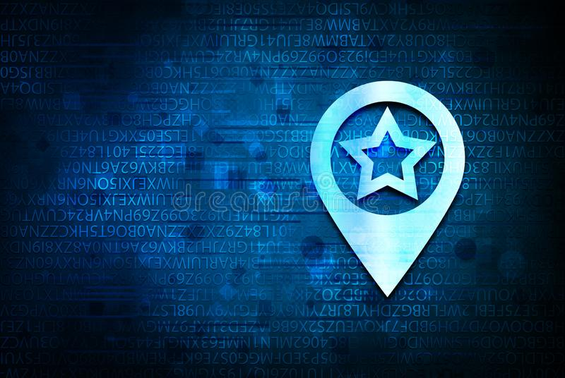 Map pointer star icon abstract blue background illustration design. Map pointer star icon isolated on abstract blue background illustration design stock photography