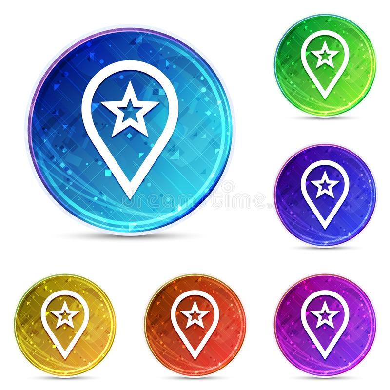 Map pointer star icon digital abstract round buttons set illustration vector illustration