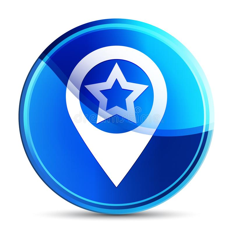 Map pointer star icon glassy vibrant sky blue round button illustration vector illustration
