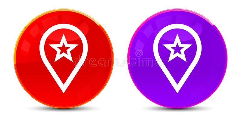 Map pointer star icon glossy round buttons illustration stock illustration