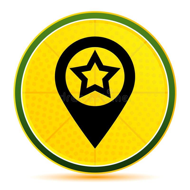 Map pointer star icon lemon lime yellow round button illustration stock illustration
