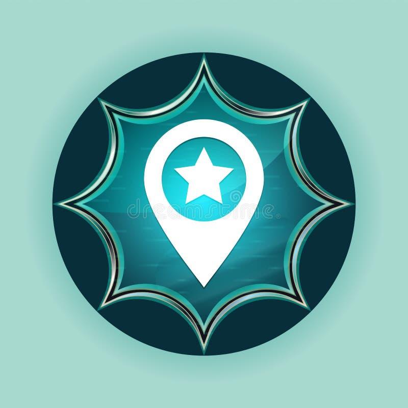 Map pointer star icon magical glassy sunburst blue button sky blue background vector illustration
