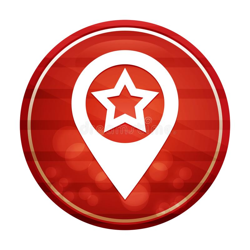Map pointer star icon realistic diagonal motion red round button illustration stock illustration