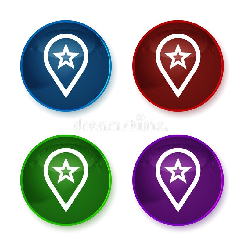 Map pointer star icon shiny round buttons set illustration vector illustration