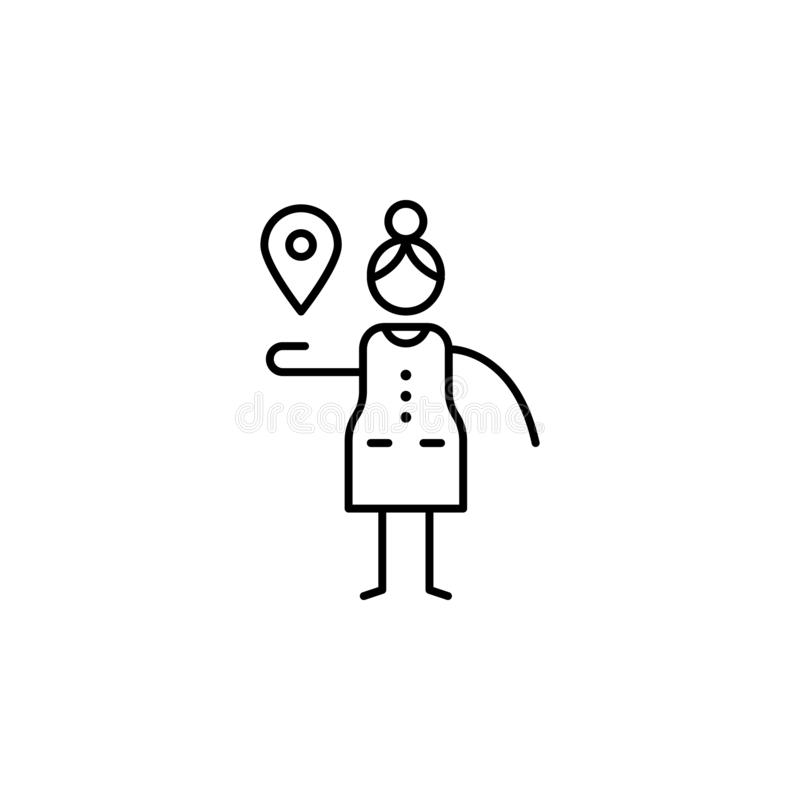 Map pointer, woman icon. Element of people in travel line icon. Thin line icon for website design and development, app development. Premium icon on white royalty free illustration
