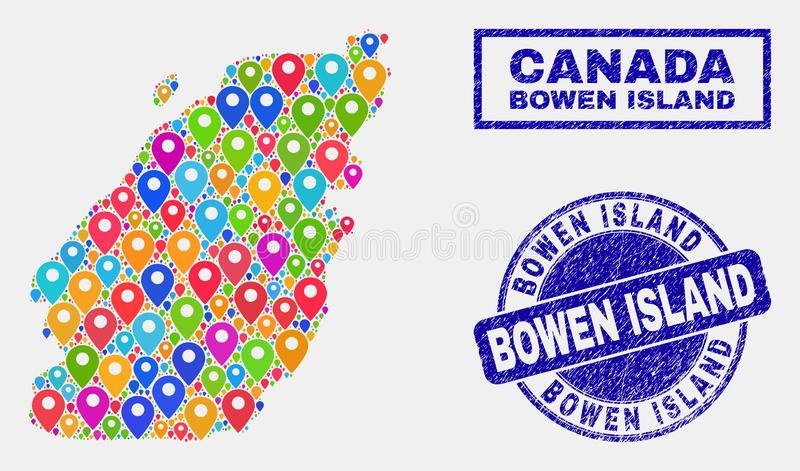 Map Pointers Collage of Bowen Island Map and Distress Stamps. Vector bright mosaic Bowen Island map and grunge seals. Abstract Bowen Island map is formed from royalty free illustration