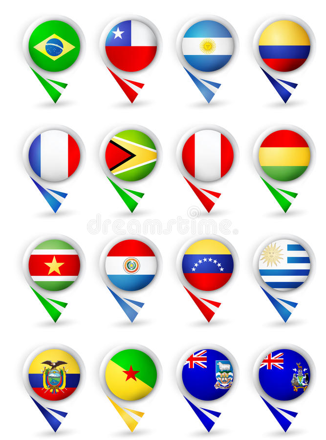 Map pointers with flags. South America all countries stock illustration
