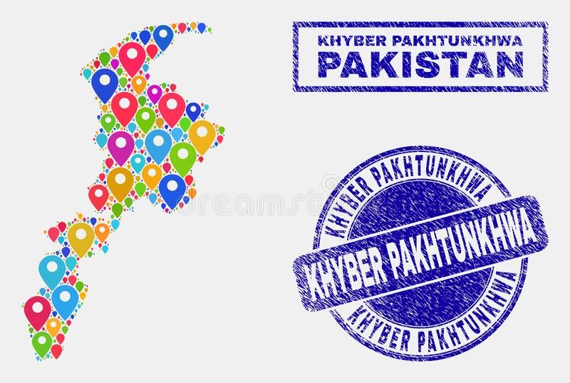 Map Pointers Mosaic of Khyber Pakhtunkhwa Province Map and Scratched Stamps royalty free illustration