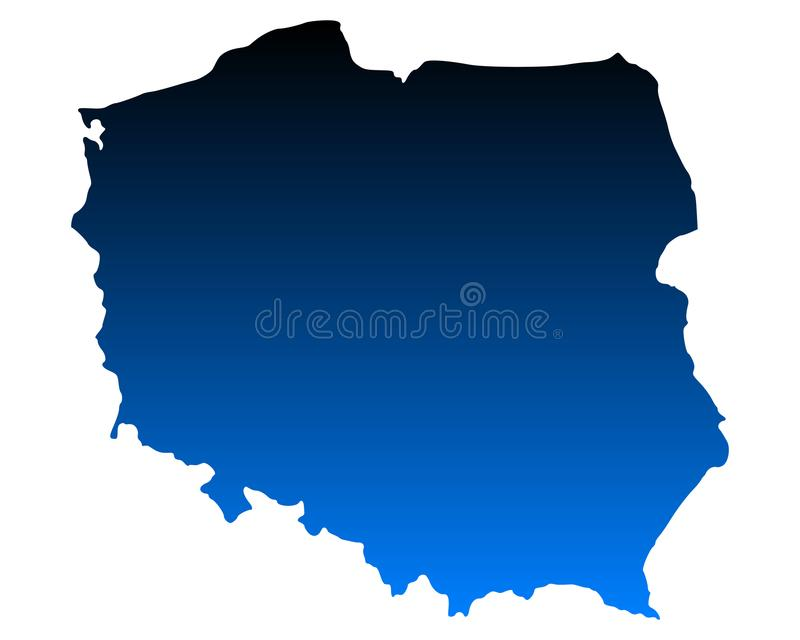 Map of Poland. Detailed and accurate illustration of map of Poland stock illustration