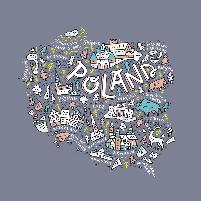 Map of Poland. The map of the Poland with the different geographic names lettering and the symbols. Vector illustration vector illustration