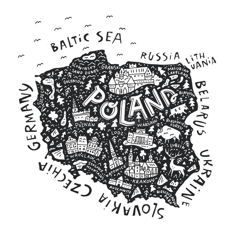 Map of Poland royalty free illustration
