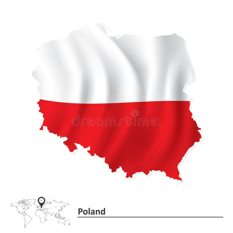 Map of Poland with flag. Vector illustration royalty free illustration