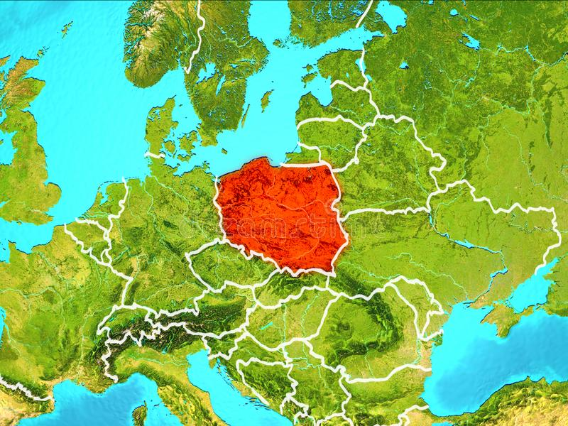 Map of Poland. Poland highlighted in red from Earth's orbit. 3D illustration. Elements of this image furnished by NASA royalty free illustration