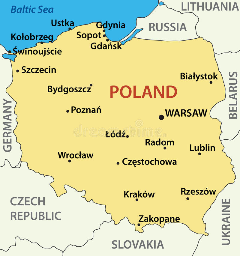 Map of Poland - illustration - vector royalty free illustration