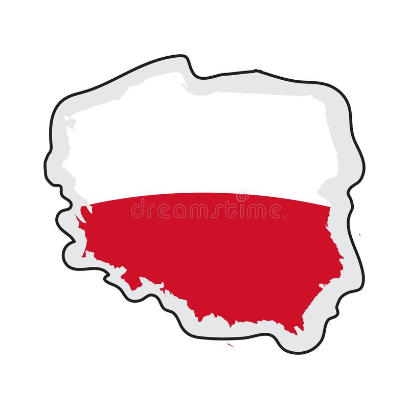 Map of Poland with its flag. Vector illustration design royalty free illustration