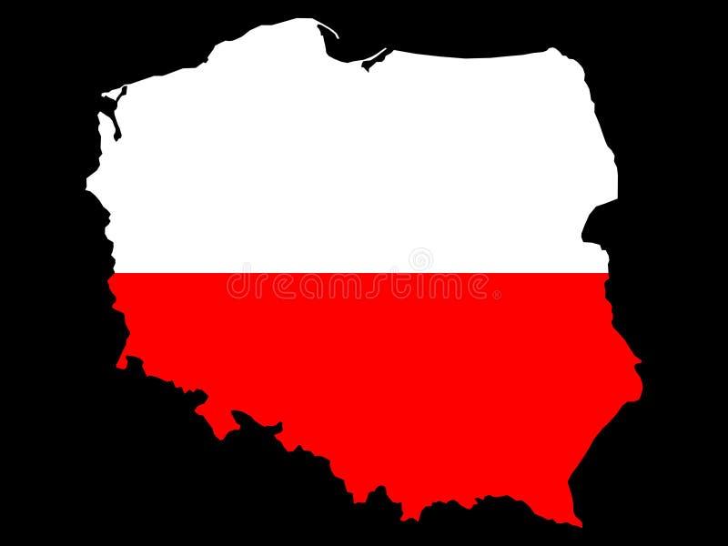 Map of Poland and Polish flag stock illustration