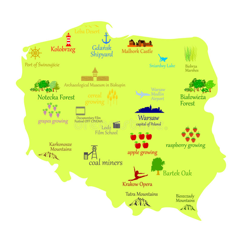 Map of Poland - vector illustration royalty free illustration