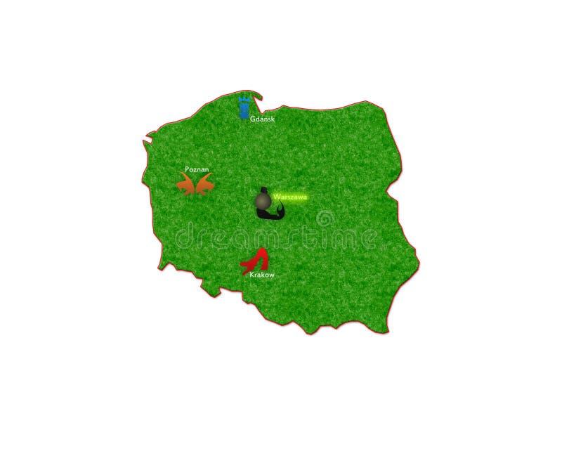 Map Of Polish Destination Royalty Free Stock Photography