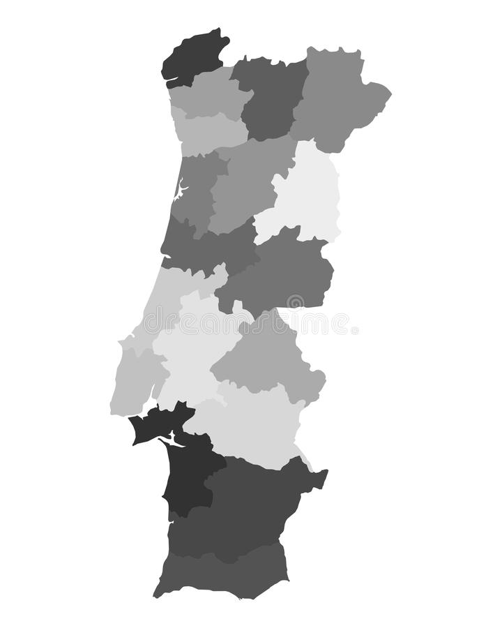 Map of Portugal. Detailed and accurate illustration of map of Portugal vector illustration