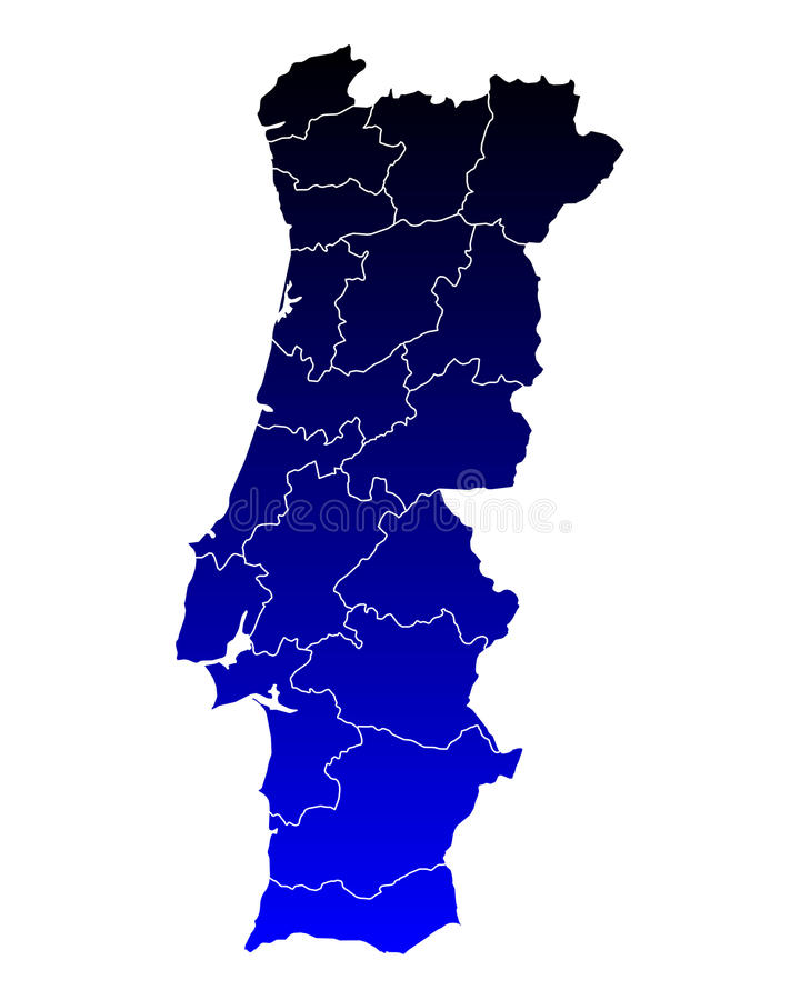 Map of Portugal. Detailed and accurate illustration of map of Portugal stock illustration