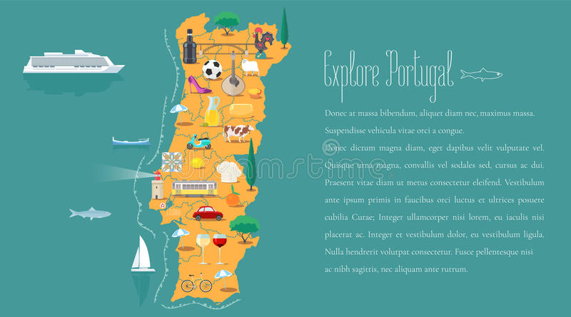 Map Of Portugal Horizontal Article Layout Vector Illustration Stock