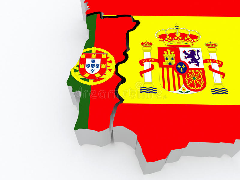 Map of Portugal and Spain. 3d vector illustration