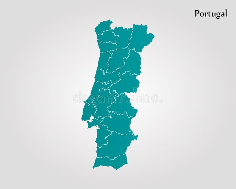 Map of Portugal. Vector illustration. World map vector illustration