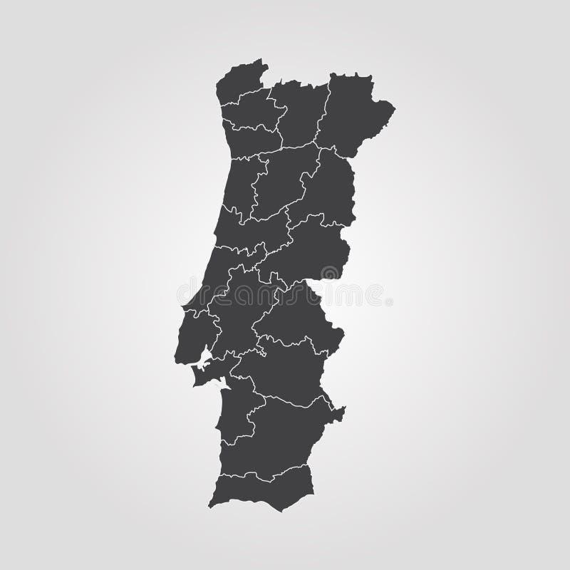 Map of Portugal. Vector illustration. World map stock illustration