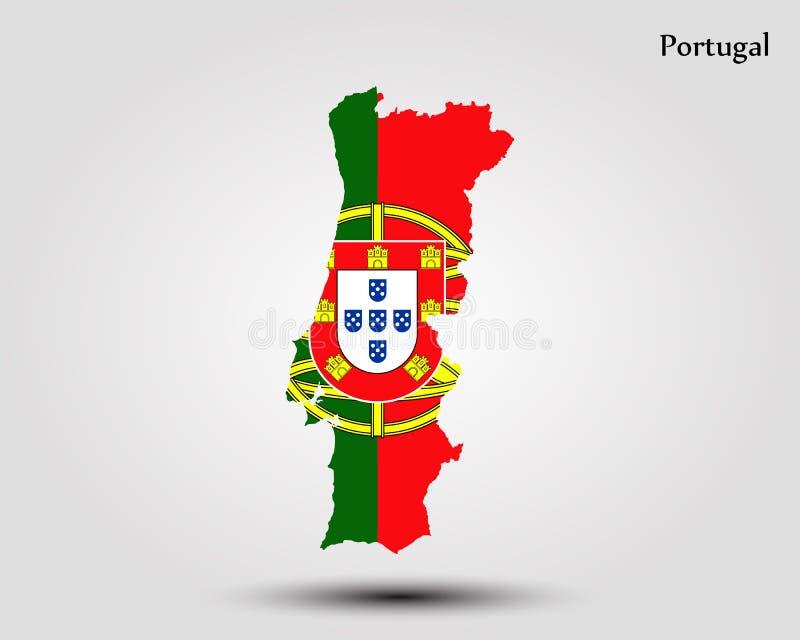 Map of Portugal. Vector illustration. World map royalty free illustration