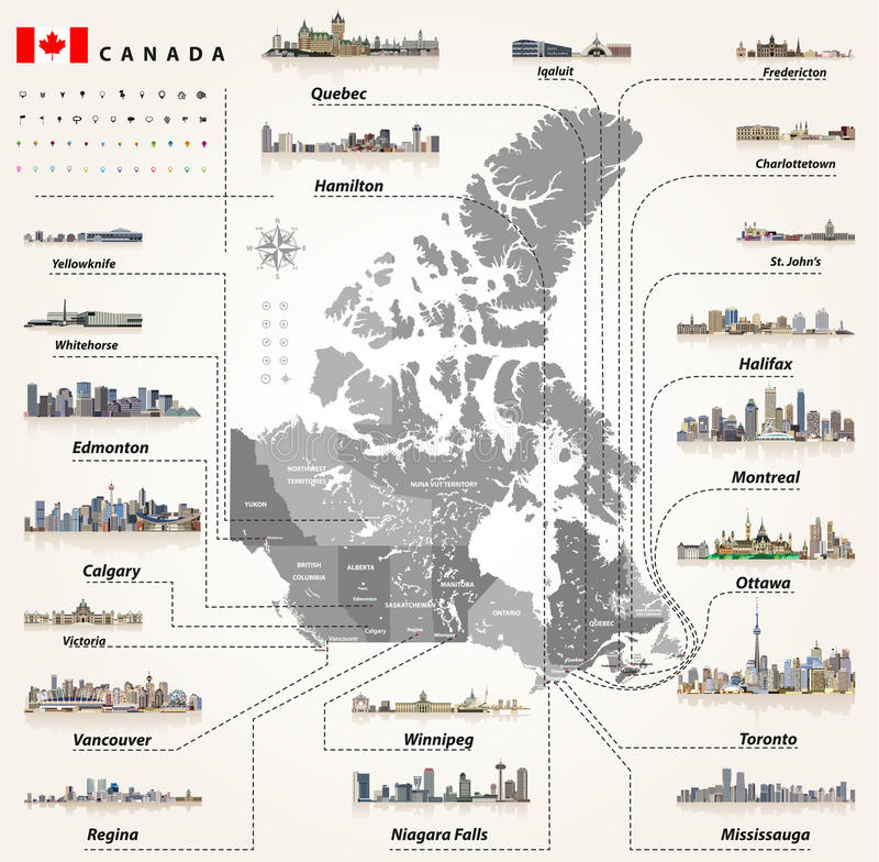 download map of provinces and territories of canada with largest cities and all states capitals skylines