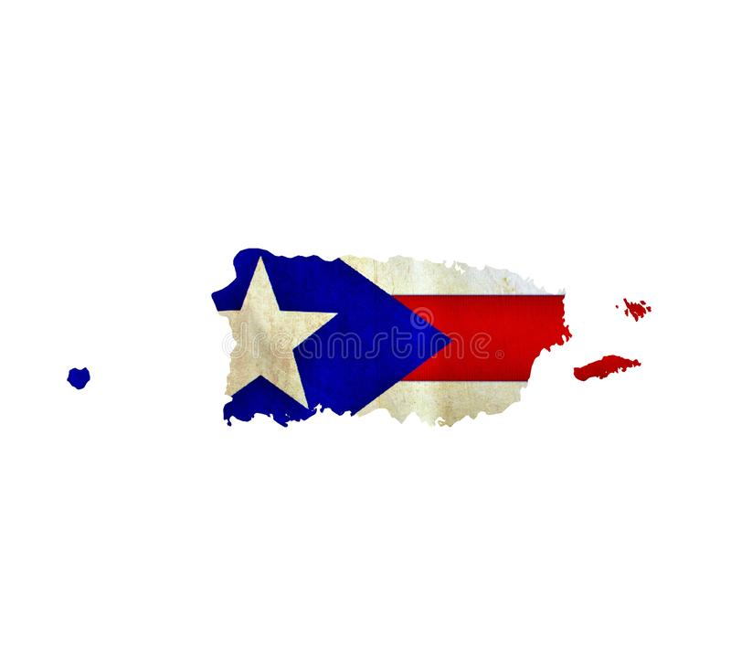Map of Puerto Rico isolated stock photography