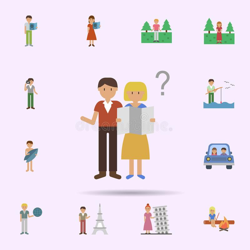Map, question, tourists cartoon icon. Universal set of travel for website design and development, app development. On color background royalty free illustration